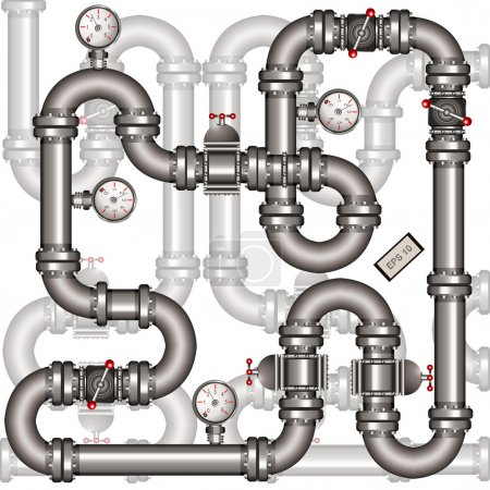 Illustration for Illustration of a metallic pipeline with transparent elements. - Royalty Free Image