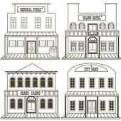 Vector illustration collection of an old west buildings: general store hotel grand casino and a city bank outlined