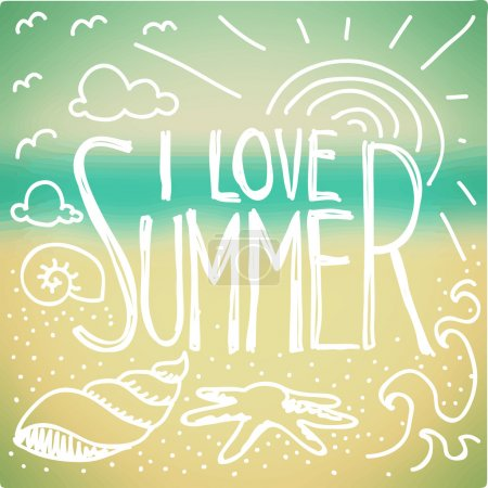 Illustration for I love Summer quote and doodle on blurred seaside background - Royalty Free Image