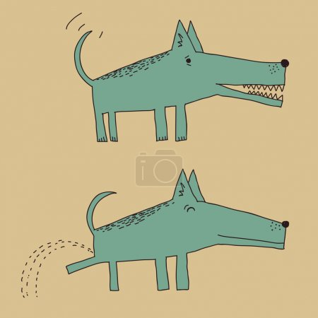 Illustration for Cartoon dog in two different positions, peeing in one of them - Royalty Free Image