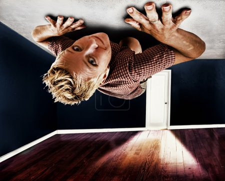 Girl crawling on the ceiling