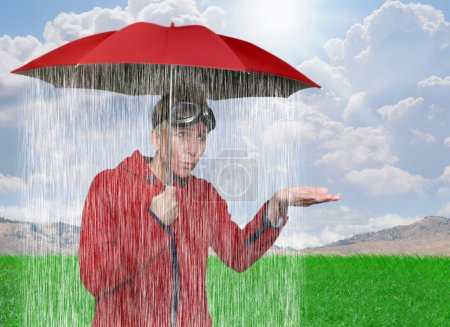Girl caught in rain shower