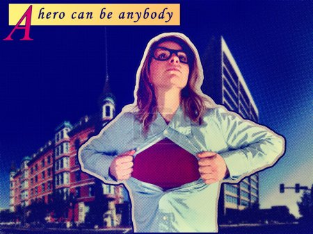 Photo for A nerdy girl in the role of a super hero - Royalty Free Image