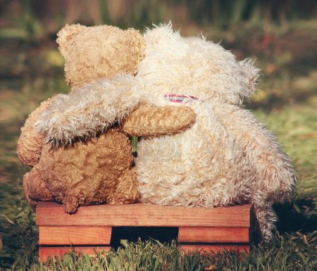 Two teddy bears on bench