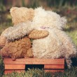Two teddy bears on a bench with arms around each o...