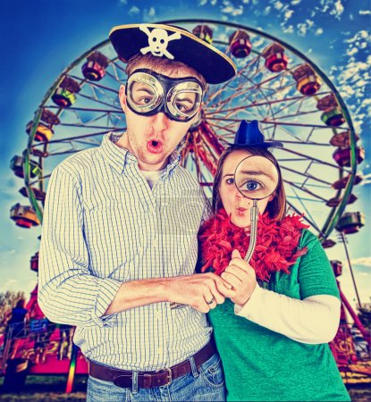 Crazy looking couple at a fair