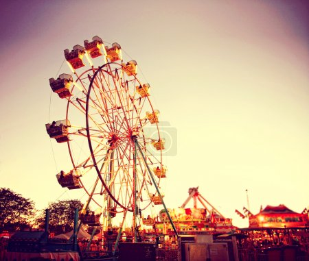 Photo for Ferris wheel in luna park on fairground - Royalty Free Image