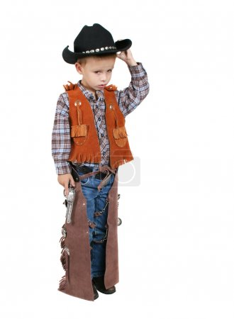 Boy dressed up as cowboy