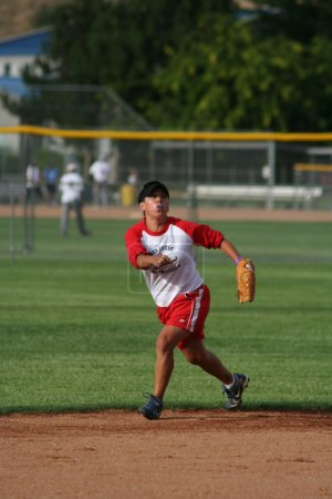Woman playing a softball game
