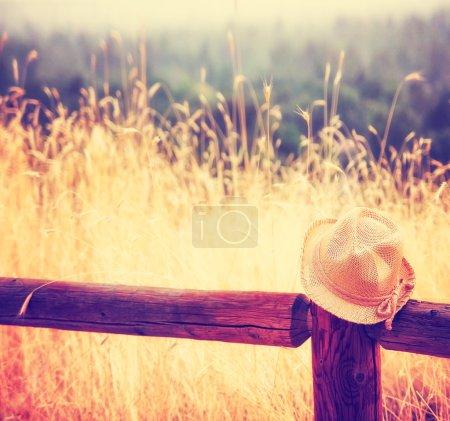 Photo pour Un chapeau sur une clôture pendant le coucher du soleil ou le lever du soleil tonique avec un instagram comme filtre - image libre de droit