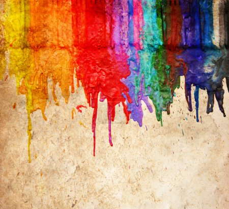Melted coloring crayons