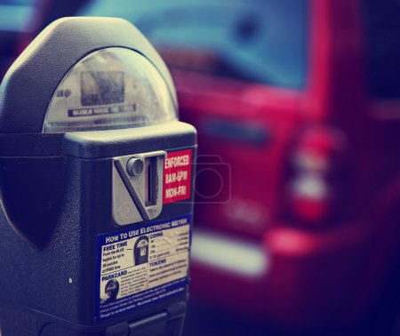 Parking meter on city street