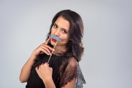 glamorous woman with fake mustaches
