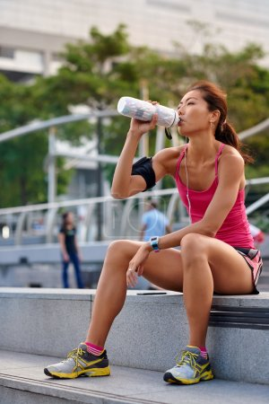 thirsty woman water bottle