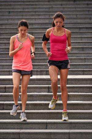 fitness women running steps