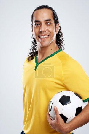 smiling brasil football soccer player