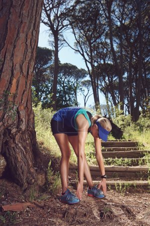 Photo for Steching woman fitness marathon runner in forest - Royalty Free Image
