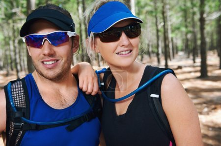 Photo for Portrait of fit active healthy lifestyle trail runners - Royalty Free Image