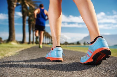 fitness couple workout for marathon