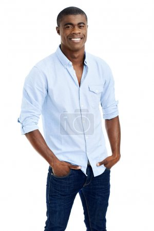 Photo for Cheerful young black african man smiling with casual clothing - Royalty Free Image