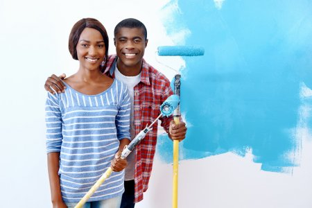 paint on new apartment for african couple