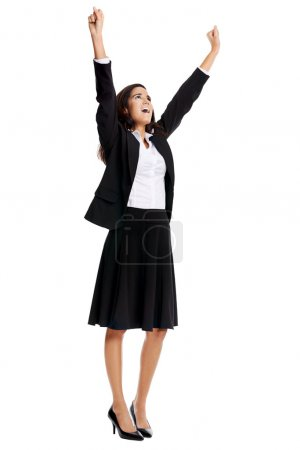 businesswoman raising arms up