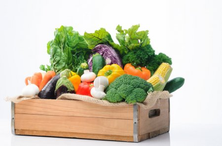 Variety of fresh colorful vegetables
