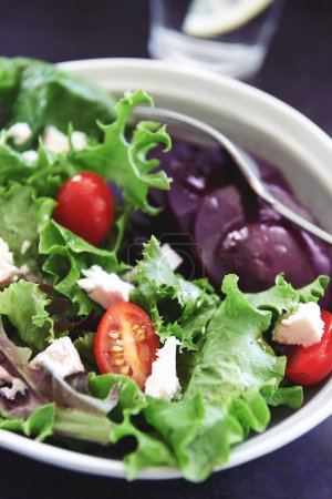 Bowl of salad close u