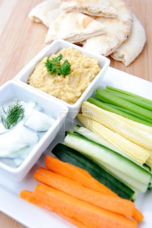 healthy dips with vegetable sticks