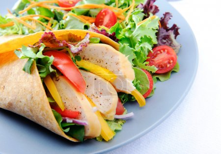 Photo for Healthy meal of smoked chicken burrito with plenty of raw salad - Royalty Free Image