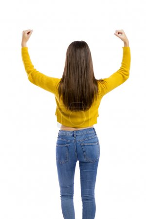 Happy woman with both arms open