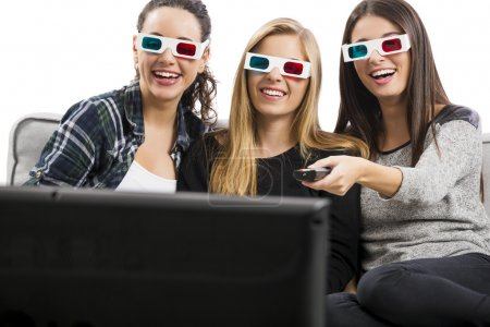 Girls watching 3D movies