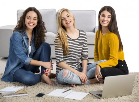 Girls studying at home