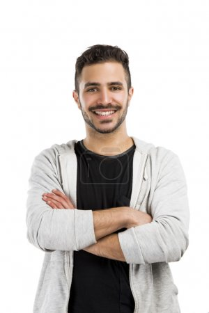 Photo for Beautiful and happy man smiling with hands folded - Royalty Free Image