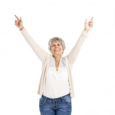 Photo for Happy Elderly woman with noth arms open, isolated over a white background - Royalty Free Image