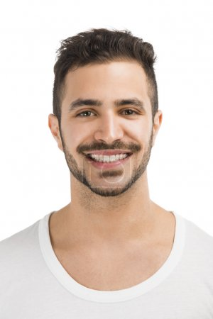 Photo for Portrait of a handsome latin man smiling, isolated on white background - Royalty Free Image