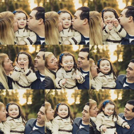 Photo for Multiple collage with portraits of a happy family - Royalty Free Image