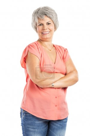 Photo for Portrait of a elderly woman smiling, isolated on a white background - Royalty Free Image