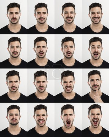 Photo for Composite of multiple portraits of the same man in different expressions - Royalty Free Image