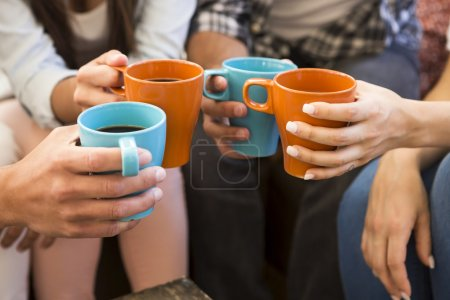 Photo for Group of friends making a toast with coffee - Royalty Free Image