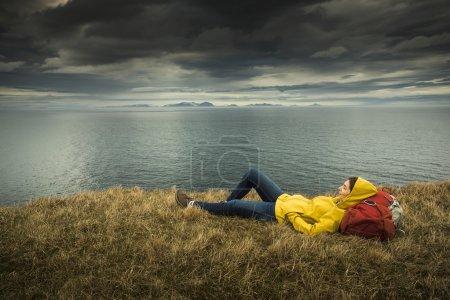 Female backpacker tourist in Iceland