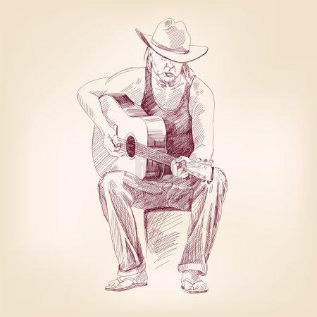 guitarist hand drawn vector llustration