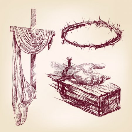christianity collection isolated hand drawn vector llustration