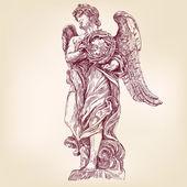 Anděl drží trnovou korunu ručně kreslenou vektorové llustration realistický nákres