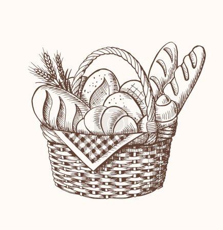 Illustration pour Illustration vectorielle vintage dessinée à la main - Panier de boulangerie . - image libre de droit