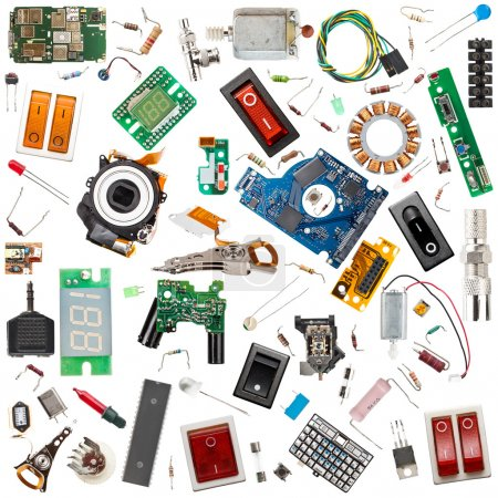 Photo for Collection of electronic components isolated in white - Royalty Free Image
