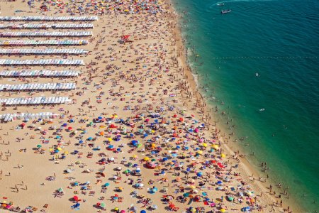 Very crowded beach in Portugal