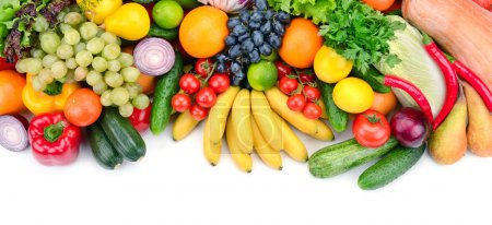 Photo for Fresh fruits and vegetables isolated on white background - Royalty Free Image
