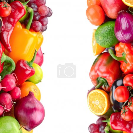 Photo for Fruit and vegetable isolated on white background - Royalty Free Image