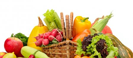 Photo for Assortment vegetables and fruits in basket isolated on white background - Royalty Free Image